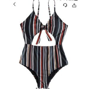 striped cut out one piece
